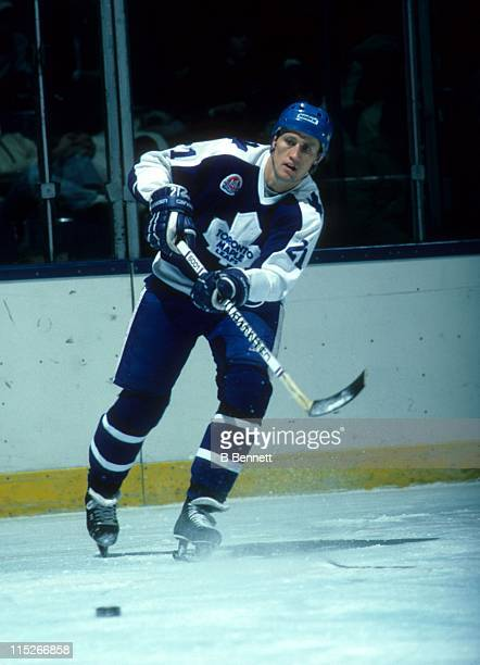 Borje Salming of the Toronto Maple Leafs passes the puck during an NHL game circa 1986