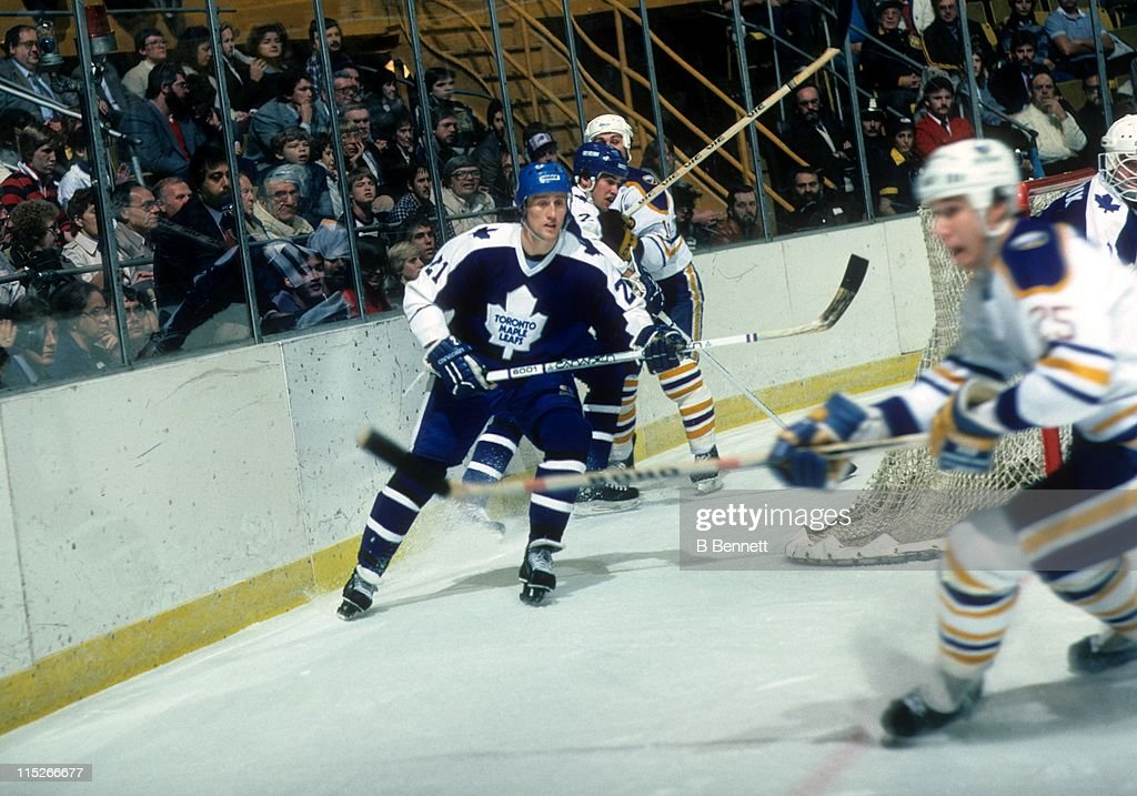 Borje Salming of the Toronto Maple Leafs skates on the ice during an NHL game against the Buffalo Sabres on November 15 1987 at the Buffalo Memorial...