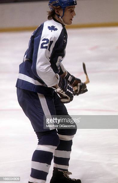 Borje Salming of the Toronto Maple Leafs skates on the ice during an NHL game against the New York Rangers circa 1974 at the Madison Square Garden in...