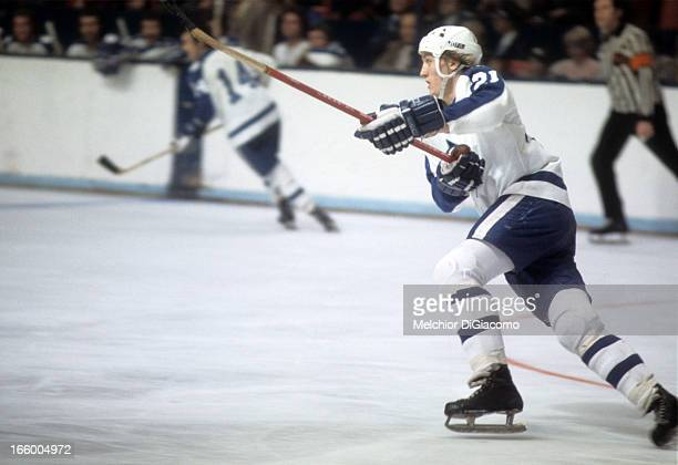 Borje Salming of the Toronto Maple Leafs skates on the ice during an NHL game circa 1976 at the Maple Leaf Gardens in Toronto Ontario Canada