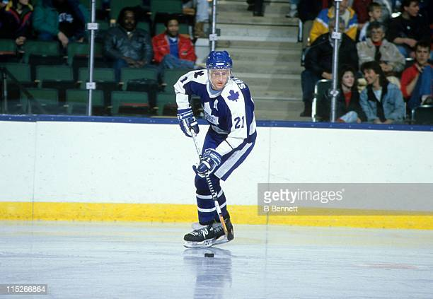 Borje Salming of the Toronto Maple Leafs skates with the puck during an NHL game in February 1989