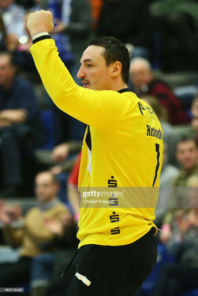 Borko Ristovski of Gummersbach celebrates the 27-26 victory after the DKB Handball Bundesliga match between VfL Gummersbach and FrischAuf Goeppingen at Eugen-Haas-Sporthalle on February 20, 2013 in Gummersbach, Germany.