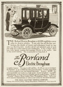 "A Borland Electric Brougham automobile is shown in a magazine advertisement from 1911 The ad states that it ""is the largest roomiest fourpassenger..."