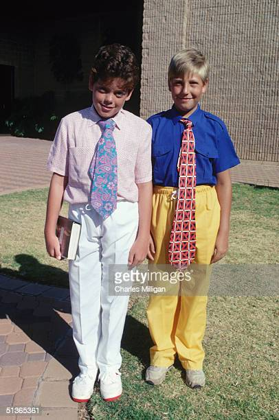 Born Again Christian boys wearing colourful outfits in South Africa circa 1985