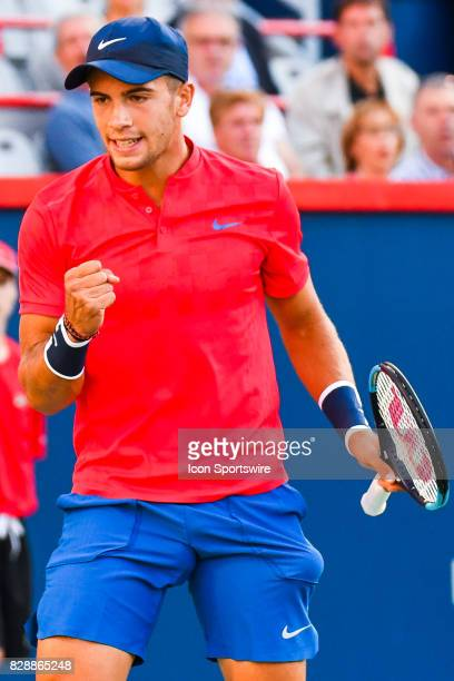 Borna Coric celebrates a point during his second round match at ATP Coupe Rogers on August 9 at Uniprix Stadium in Montreal QC