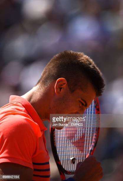 Borna Coric celebrates during the round three Men's singles match against Jack Sock on day seven of the French Open at Roland Garros on May 30 2015...