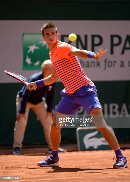 Borna Coric during the round three Men's singles match against Jack Sock on day seven of the French Open at Roland Garros on May 30 2015 in Paris...