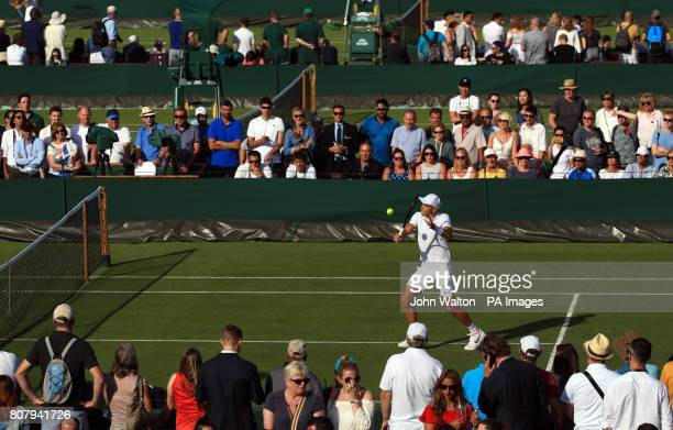 Borna Coric in action on court nine on day two of the Wimbledon Championships at The All England Lawn Tennis and Croquet Club Wimbledon