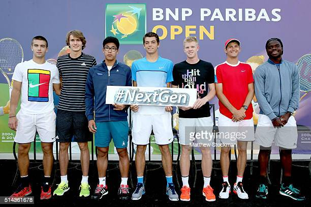 Borna Coric of Croatia Alexander Zverev of Germany Hyeon Chung of Korea Taylor Fritz Kyle Edmund of Great Britain Jared Donaldson and Frances Tiafoe...