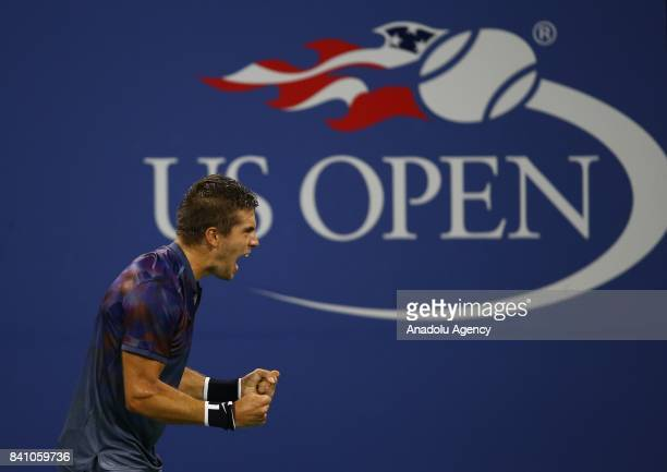 Borna Coric of Croatia celebrates after winning against Alexander Zverev of Germany in Men's Singles round two tennis match within 2017 US Open...
