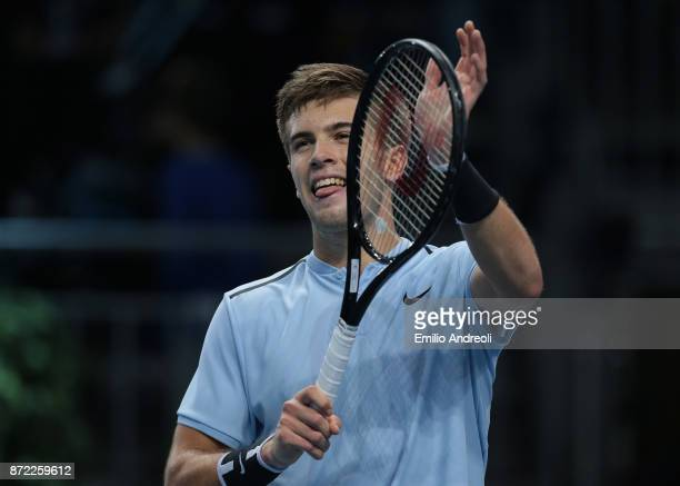 Borna Coric of Croatia celebrates the victory at the end of the match against Karen Khachanov of Russia during Day 3 of the Next Gen ATP Finals on...