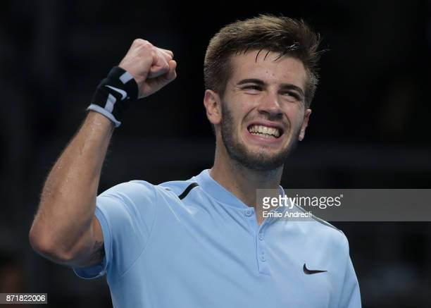 Borna Coric of Croatia celebrates the victory in the match against Daniil Medvedev of Russia during Day 2 of the Next Gen ATP Finals on November 8...