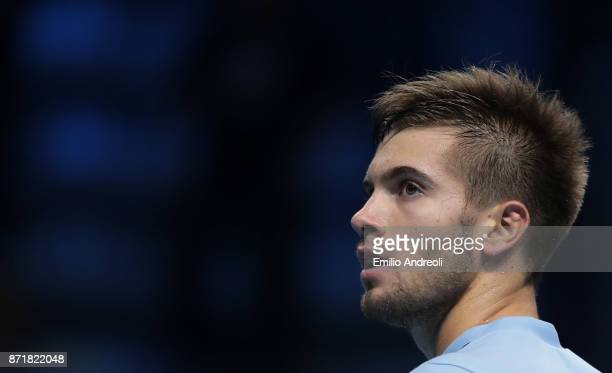 Borna Coric of Croatia looks on his match against Daniil Medvedev of Russia during Day 2 of the Next Gen ATP Finals on November 8 2017 in Milan Italy