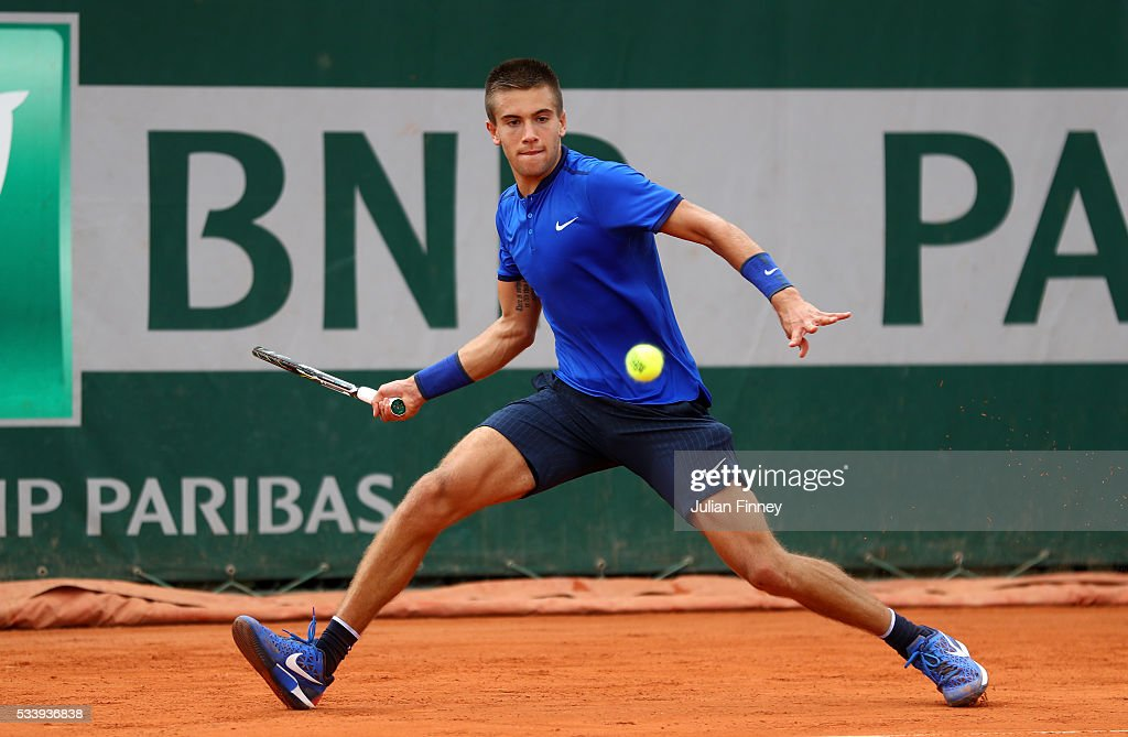 Borna Coric of Croatia plays a forehand during the Men's Singles first round match against Taylor Fritz of United States on day three of the 2016 French Open at Roland Garros on May 24, 2016 in Paris, France.