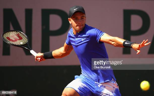 Borna Coric of Croatia plays a forehand during the mens singles second round match against Steve Johnson of The United States on day four of the 2017...