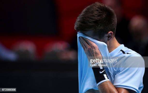 Borna Coric of Croatia reacts after missing a point in his match against Andrey Rublev of Russia during the semi finals on day 4 of the Next Gen ATP...