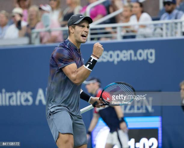 Borna Coric of Croatia reacts during match against Alexander Zverev of Germany at US Open Championships at Billie Jean King National Tennis Center