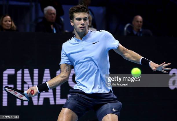 Borna Coric of Croatia returns a forehand in his match against Andrey Rublev of Russia during the semi finals on day 4 of the Next Gen ATP Finals on...