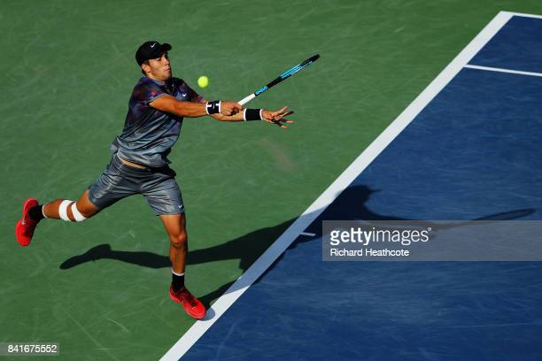 Borna Coric of Croatia returns a shot to Kevin Anderson of South Africa during their third round match on Day Five of the 2017 US Open at the USTA...