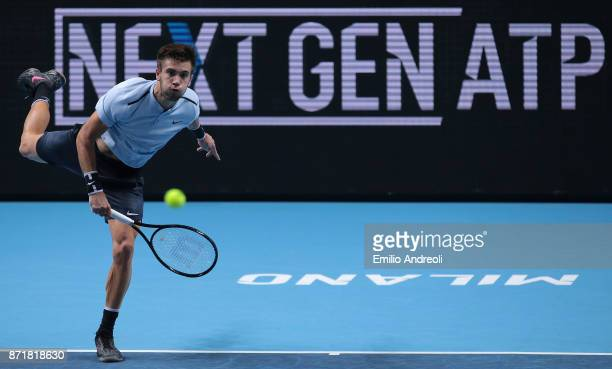 Borna Coric of Croatia serves the ball in his match against Daniil Medvedev of Russia during Day 2 of the Next Gen ATP Finals on November 8 2017 in...
