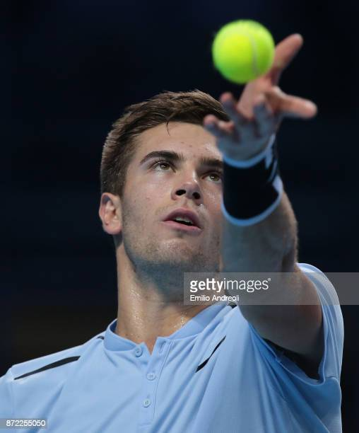Borna Coric of Croatia serves the ball in his match against Karen Khachanov of Russia during Day 3 of the Next Gen ATP Finals on November 9 2017 in...