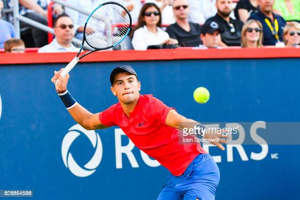 Borna Coric returns the ball during his second round match at ATP Coupe Rogers on August 9 at Uniprix Stadium in Montreal QC
