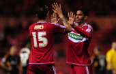 Boro goalscorer Faris Haroun celebrates the first goal with Seb Hines during the npower Championship match between Middlesbrough and Hull City at...