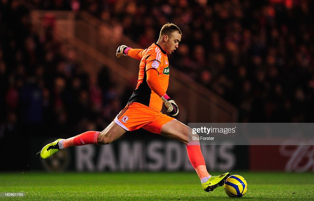 Boro keeper Jason Steele in action during the FA Cup Fifth Round match between Middlesbrough and Chelsea at Riverside Stadium on February 27, 2013 in Middlesbrough, England.
