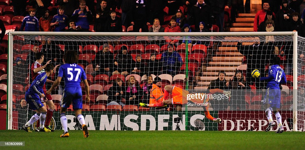 Boro keeper Jason Steele is beaten by Fernando Torres (l) for the first Chelsea goal during the FA Cup Fifth Round match between Middlesbrough and Chelsea at Riverside Stadium on February 27, 2013 in Middlesbrough, England.