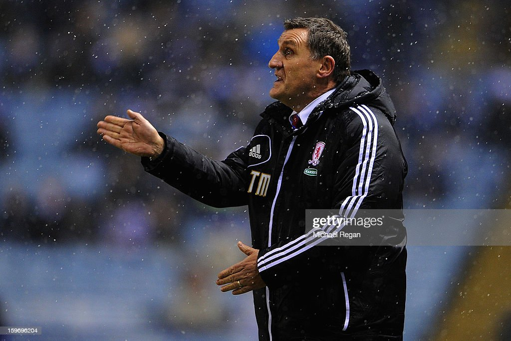 Boro manager <a gi-track='captionPersonalityLinkClicked' href=/galleries/search?phrase=Tony+Mowbray&family=editorial&specificpeople=3470107 ng-click='$event.stopPropagation()'>Tony Mowbray</a> gestures during the Npower Championship between Leicester City and Middlesbrough at The King Power Stadium on January 18, 2013 in Leicester, England.