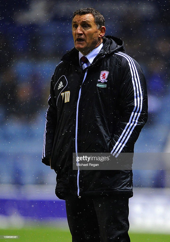 Boro manager Tony Mowbray looks on during the Npower Championship between Leicester City and Middlesbrough at The King Power Stadium on January 18, 2013 in Leicester, England.