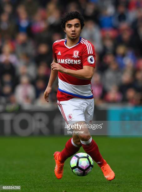 Boro player Fabio Da Silva in action during the Premier League match between Middlesbrough and Manchester United at Riverside Stadium on March 19...