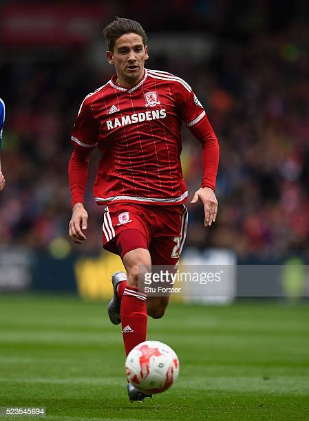 Boro player Gaston Ramirez in action during the Sky Bet Championship match between Middlesbrough and Ipswich Town at the Riverside Stadium on April...