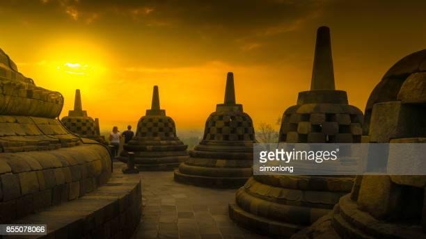 Borobudur at dusk in Central Java, Indonesia.