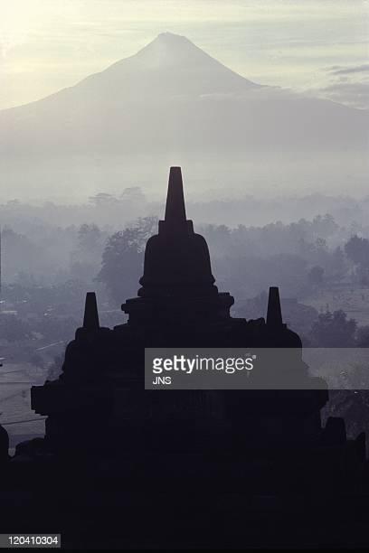 Borobudur Java Indonesia Borobudur and Merrapi volcano