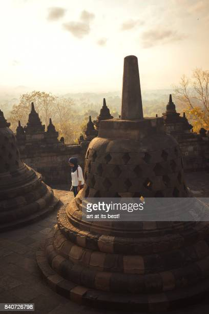Borobudur Temple during sunrise