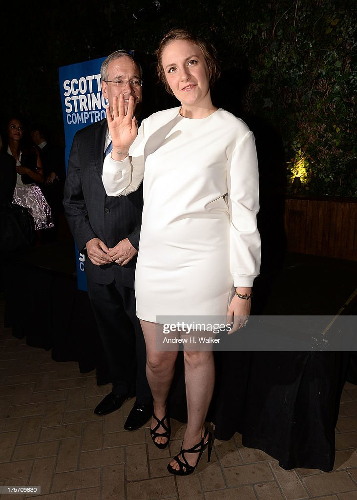 Borough President of Manhattan and candidate for NYC Comptroller Scott Stringer and actress <a gi-track='captionPersonalityLinkClicked' href=/galleries/search?phrase=Lena+Dunham&family=editorial&specificpeople=5836535 ng-click='$event.stopPropagation()'>Lena Dunham</a> attend the Young New York Fundraiser in support of Scott Stringer for NYC Comptroller at Maritime Hotel on August 6, 2013 in New York City.