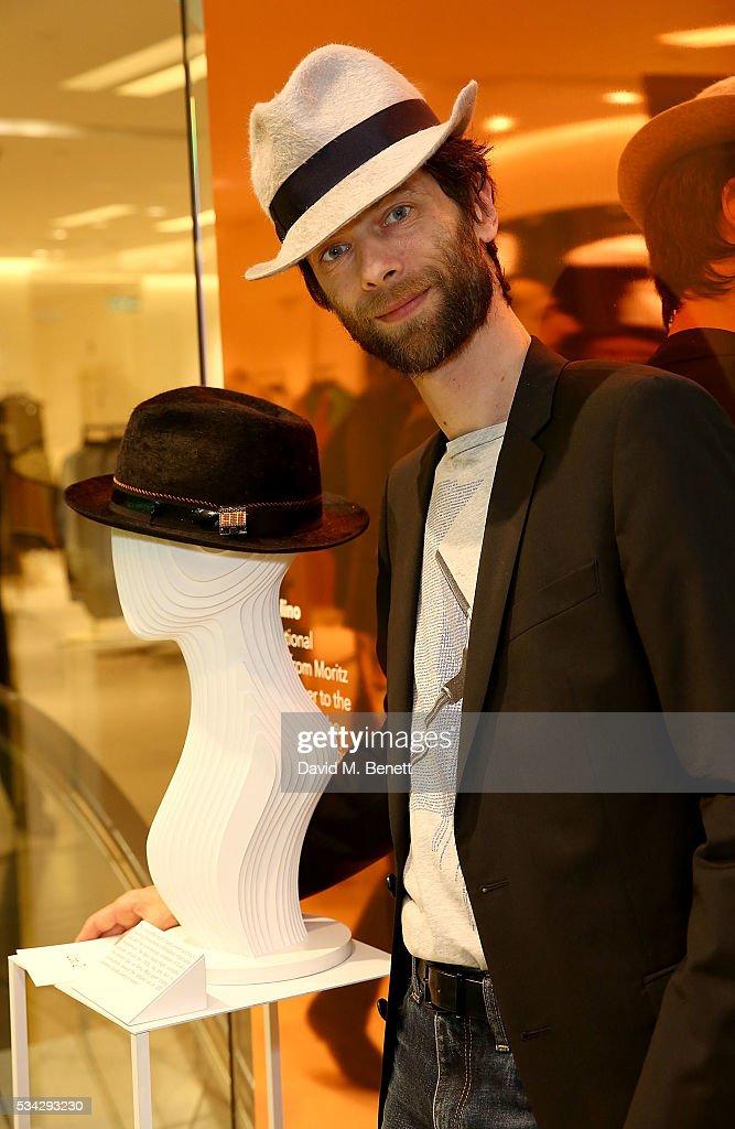 Borsalino artist Moritz Waldemeyer attend 'Decades of Drama' at Fenwicks Bond Street on May 25, 2016 in London, England.