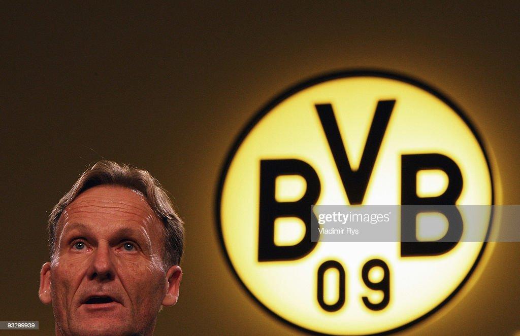 Borussia Dortmund CEO HansJoachim Watzke is pictured during the Borussia Dortmund annual meeting at the Westfallenhalle on November 22 2009 in...