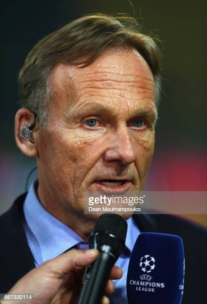 Borussia Dortmund CEO HansJoachim Watzke speaks to the media as the match is postponed prior to the UEFA Champions League Quarter Final first leg...