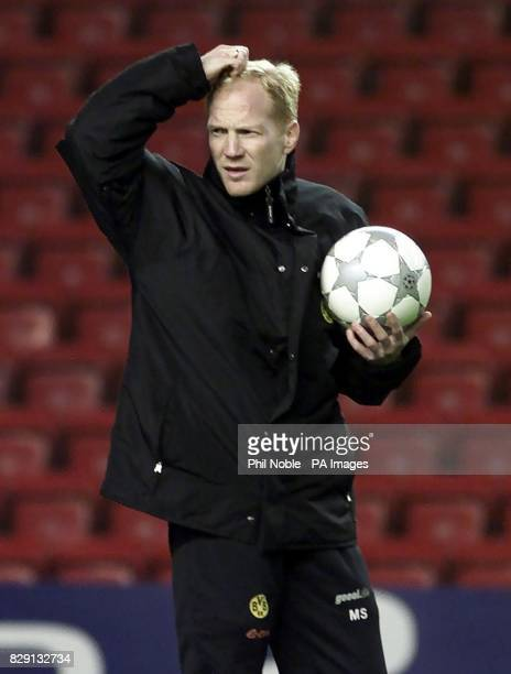 Borussia Dortmund coach Matthias Sammer during a training session at Anfield Liverpool Borussia Dortmund play Liverpool in a Champions League match...