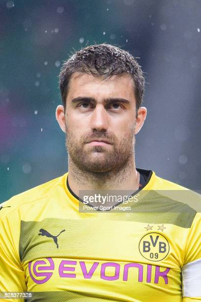 Borussia Dortmund Defender Sokratis Papastathopoulos getting into the field during the International Champions Cup 2017 match between AC Milan vs...