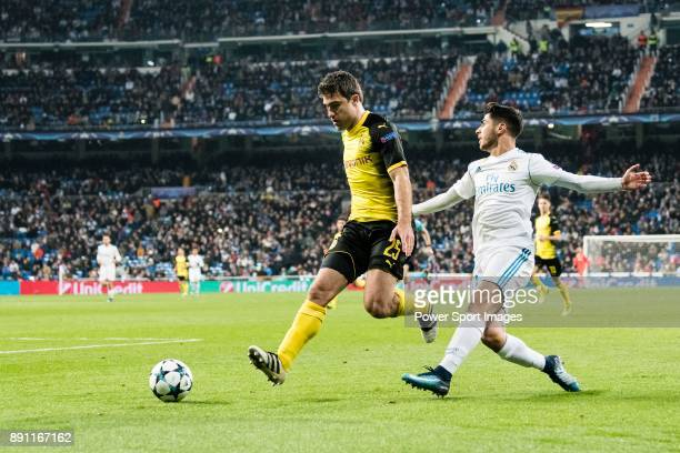 Borussia Dortmund Defender Sokratis Papastathopoulos in action against Marco Asensio of Real Madrid during the Europe Champions League 201718 match...