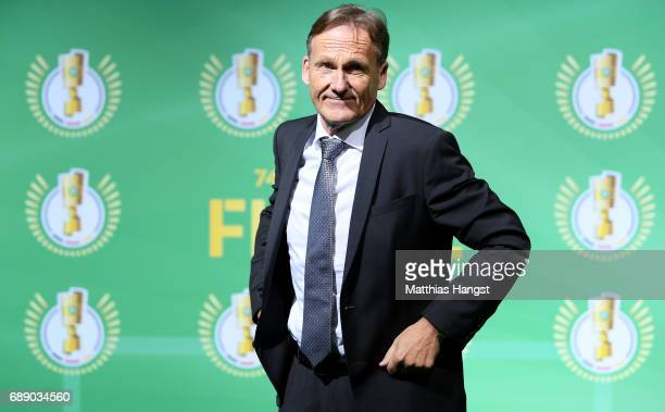 Borussia Dortmund Executive Director HansJoachim Watzke arrives for the DFB Cup Final 2017 between Eintracht Frankfurt and Borussia Dortmund at...