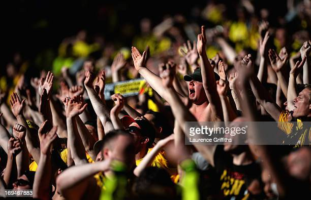 Borussia Dortmund fans ahead of the UEFA Champions League final match between Borussia Dortmund and FC Bayern Muenchen at Wembley Stadium on May 25...