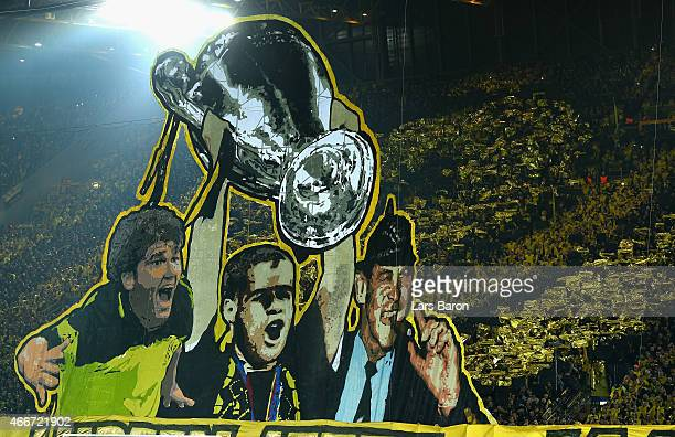 Borussia Dortmund fans remember the 1997 Champions League Final victory over Juventus prior to the UEFA Champions League Round of 16 between Borussia...