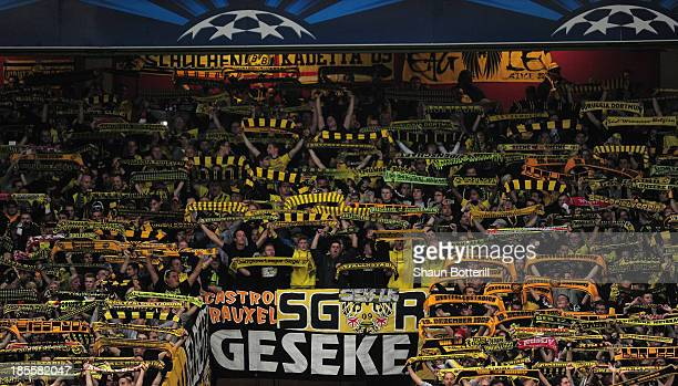 Borussia Dortmund fans show their support during the UEFA Champions League Group F match between Arsenal and Borussia Dortmund at Emirates Stadium on...