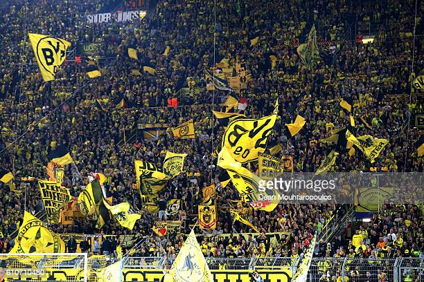 Borussia Dortmund fans show their support during the UEFA Champions League Group F match between Borussia Dortmund and Real Madrid CF at Signal Iduna...