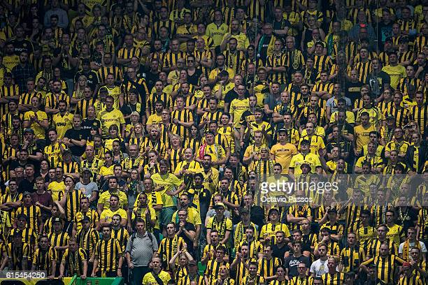Borussia Dortmund fans show their support during the UEFA Champions League match between SC Sporting and Borussia Dortmund at Estadio Jose Alvalade...