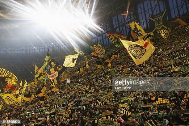 Borussia Dortmund fans show their support prior to the Bundesliga match between Borussia Dortmund and FC Bayern Muenchen at Signal Iduna Park on...